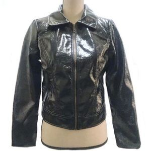 Who What Where Faux Patent Leather Black Jacket Sm